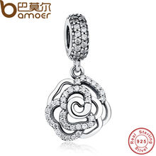 925-Sterling-Silver Rose Flower Charm & Pendant Fit BME Original Bracelet with Clear CZ 2016 Autumn COLLECTION Drop PAS086