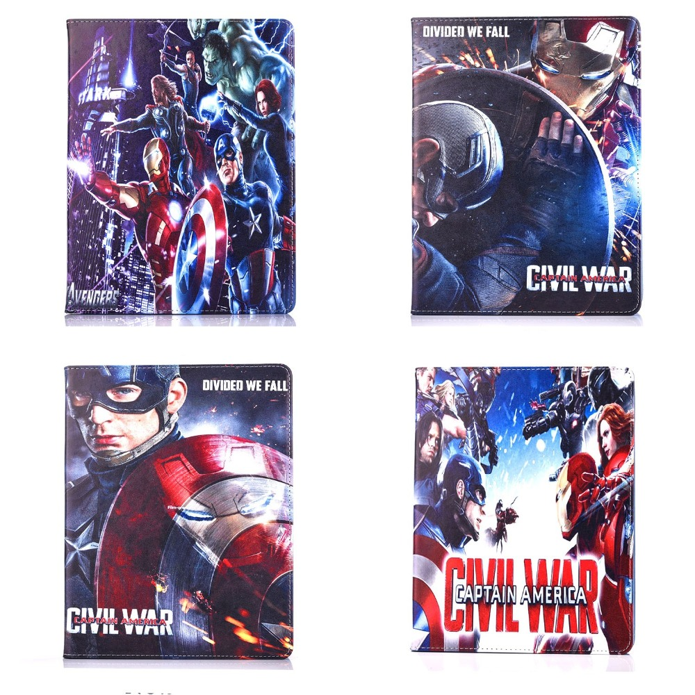 Fashion New Captain America Civil war pu leather Stand holder case cover for ipad Air 2 with screen protector