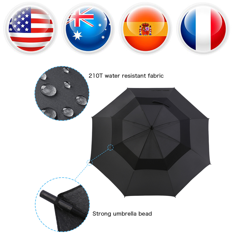 62 Inch Automatic Open Golf Umbrella Double Canopy Vented Windproof parapluie automatique kazbrella