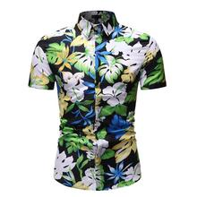 Casual dress Shirt for Man Flower Short sleeve Blouse Mens clothing Floral Hawaiian Men Summer