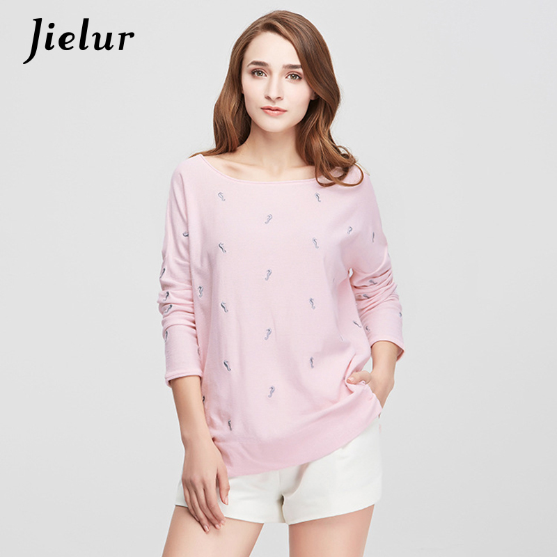 2017 Autumn New Loose Cotton T-shirts for Women Fashion Animal Embroidery T-shirt Female Pullovers Leisure Full Sleeve Knitwear