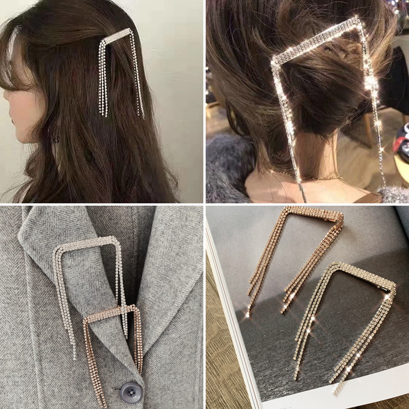 Korea New Trendy Shiny Crystal Hair Clips Hairpins For Women Girls Long Tassel Rhinestone Hairgrips Wedding Accessories