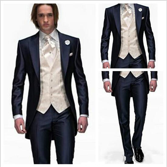 Das3036 estilo azul marinho botão do noivo smoking melhor padrinhos de casamento ternos noivo ( Jacket + Pants + Tie + colete )