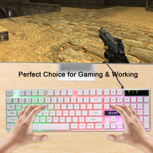 Mechanical feel USB Wired Gaming Keyboard Rainbow LED Backlit Gaming Keyboard  Illuminated Light For Computer Desktop Laptop