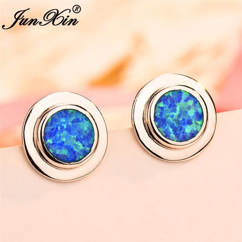 JUNXIN Silver Color Round Stud Earrings For Women Blue White Fire Opal Earrings Female Wedding Piercing Jewelry