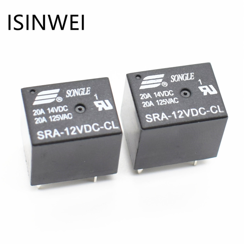 5Pins RELAY 12V for DC Coil Power Relays PCB 20A SRA-12VDC-CL Wholesale Price relays srd 12vdc sl c pcb type 12v dc songle power relay