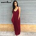 Wantmove 6 cores s-xxl plus size mulheres sexy verão boho longo maxi vestidos de desgaste do partido vestidos com decote em v sem mangas praia tx110