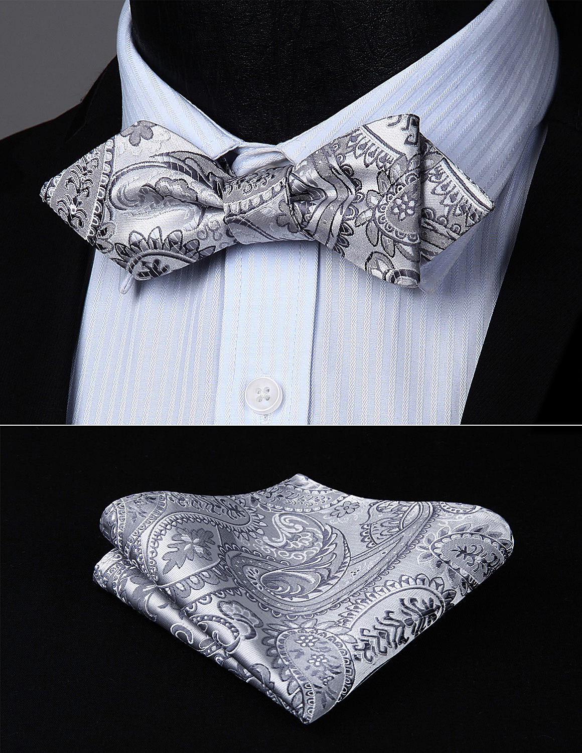 Men Self Bow Tie Paisley Striped Check Diamond Point Tip Handkerchief Set#JT2 Pocket Square Classic Party Wedding