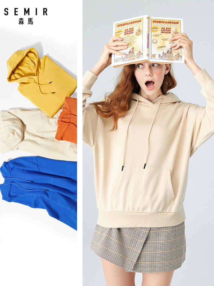 SEMIR, Женская толстовка с капюшоном, Женская толстовка с капюшоном, толстовка, пуловер, толстовка с капюшоном, с начесом, с передним карманом-кенгуру и капюшоном на шнурке