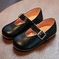 2017 meninas da escola shoes fivela cintas de couro crianças menina shoes toe praça princesa shoes calçados de vestido preto para a festa