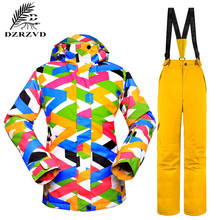 2016 NEW Winter Snowboard Women Ski Set 2PCS/Set Jacket Clothes Pants Windproof Waterproof Breathable Skiing Jackets