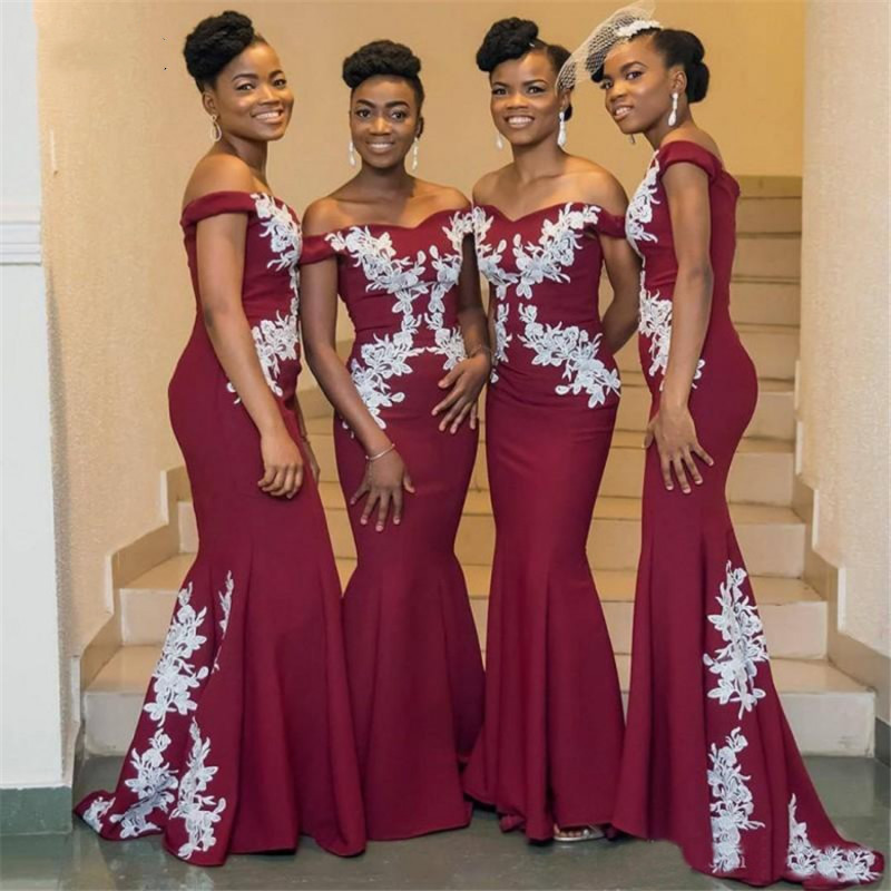 Burgundy   Bridesmaid     Dresses   with White Lace 2019 Off Shoulder African Wedding Party Gowns Maid of Honor   Dress   Long Prom   dress