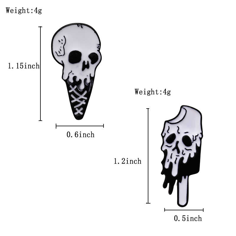 """""""I am freddo"""" Punk Cranio gelato Risvolto Spilli Spille Horror Nero bianco Fuso Popsicle dello smalto Spille Distintivi e Simboli gioielli borsa Camicia di Spilli"""