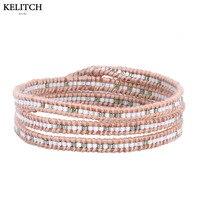KELITCH Jewelry 1Pcs Crystal Seed Beaded Multicolor Brand Custom Cardboard 3 Wrap Leather Brown Handmade Bracelet