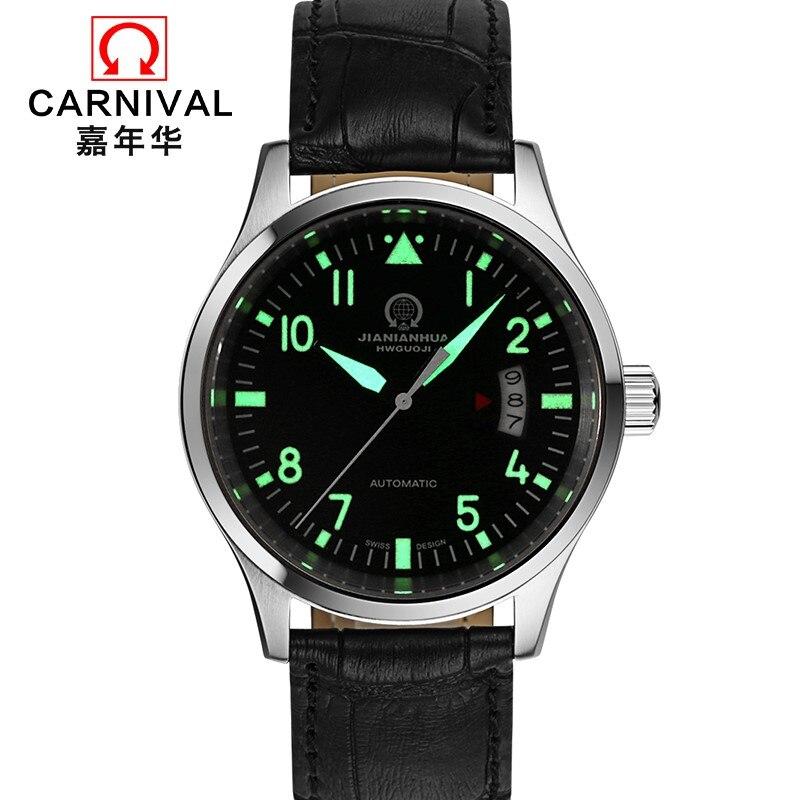 Top brand CARNIVAL Luxury Automatic Watch Men Calendar HD Luminous Sapphire 100m Waterproof Fashion Casual Mechanical