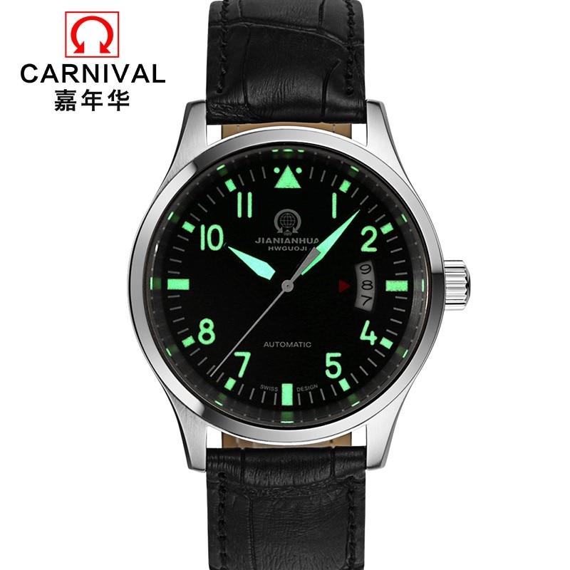 все цены на Top brand CARNIVAL Luxury Automatic Watch Men Calendar HD Luminous Sapphire 100m Waterproof Fashion Casual Mechanical watches онлайн
