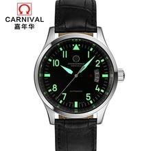 Топ бренд карнавал Роскошные автоматические часы мужские календарь HD светящийся Сапфир 100 м водонепроницаемые Модные Повседневные механические часы