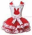 1º 2º 3º rosa coelho feliz de ovos de páscoa coelho simples branco vermelho de cetim guarnição saia meninas roupa Set NB-8Y