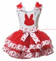 Easter Birthday 1ST 2ND 3RD Rose Bunny Happy Easter Egg Plain White Top Red Bunny Rabbit Satin Trim Skirt Girls Outfit Set NB-8Y