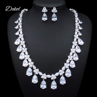 DOKOL Classic Clear Water Drop Cubic Zirconia Jewelry Sets For Wedding Gorgeous Platinum Plated Bridal Jewelry
