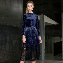 Solid velvet lace patchwork stand neck slim pleated party dress 2018 new full sleeve women autumn long dress недорого