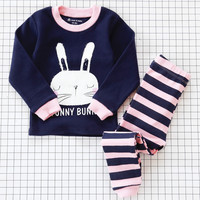 Girls Boys Pajama Pajamas Sets Two Pieces Tops Pants Sleepwear Spring Fall Winter Cat Bunny Koala