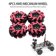 4Pcs Heavy Duty Drive 4WD Mecanum Wheel Robot Kit Omnidirectional Mecanum Wheel with Coupling for 1/10 RC Truck Buggy Car Robot(China)