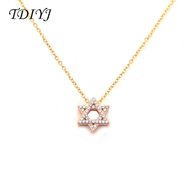 TDIYJ New Arrival Star of David Crystal Women Jewelry Alloy Pendant Necklace  Fashion Hexagram Keeper Necklace 1752c0c2a235