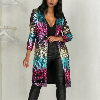 Sparkly Sequin Long Cardigan Women Spring Fashion Long Sleeve Open Front Trench Coat Ladies Party Glitter Kimono Cardigan Coat25 olive green shawl collar open front cocoon cardigan