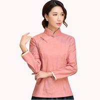 Chinese Traditional Style Red Women Shirt Spring Autumn Full Sleeve Blouse Mandarin Collar Cotton Linen Clothing