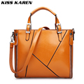 KISS KAREN Soft Texture Vintage Fashion Oil Wax PU Leather Totes Women's Shoulder Bags Lady Handbags Women Bag