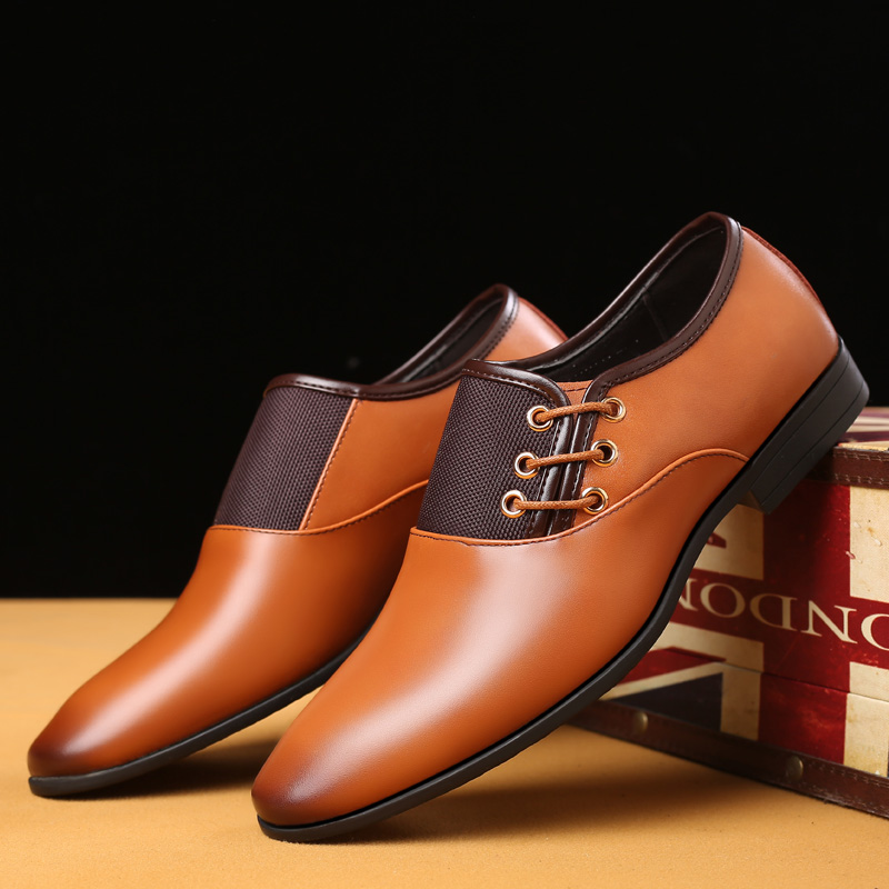 yellowish brown leather dress shoes