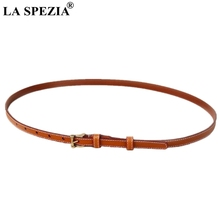 LA SPEZIA Thin Belt Women Real Leather Cowhide Pin Ladies Camel Classic Italy Brand Female Narrow Jeans Belts