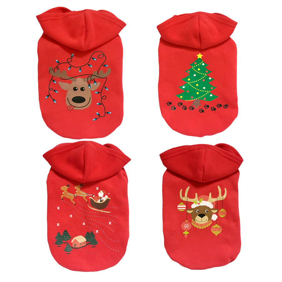 New Year Pet Vintage Dog Coat Christmas Themed Holiday Festive Dog Sweater Hoodies