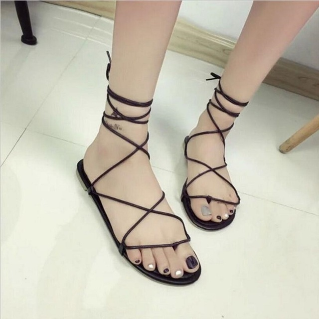 2018 Newest Concise Ankle Strap Sandals Women Lace-up Cross-tied Shoes  Woman Sandals