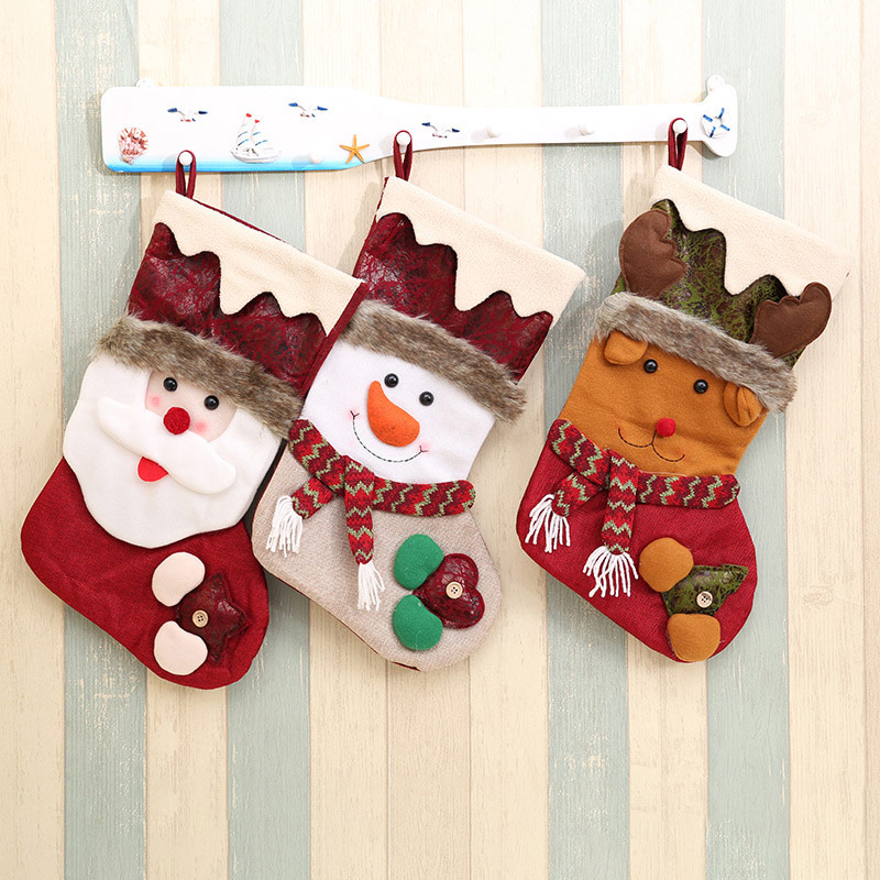 Big Christmas Stocking Santa Claus Snowman Reindeer Socks Candy Bag for New Year Christmas Eve Home Decoration Gifts SD433