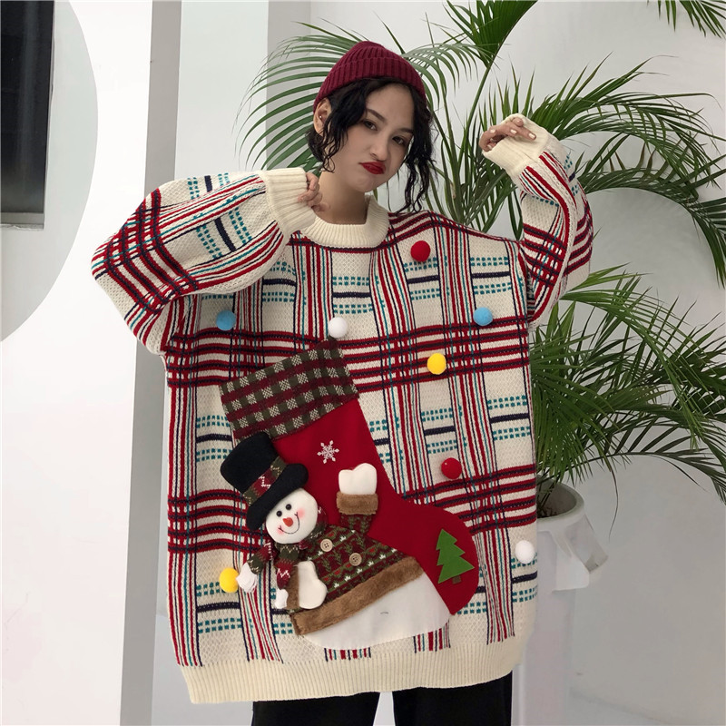Winter Fashion Women Christmas Sweaters O Neck Long Sleeve Knitted Pullovers Santa Claus Big Pocket Sweaters Tops Female Jumpers
