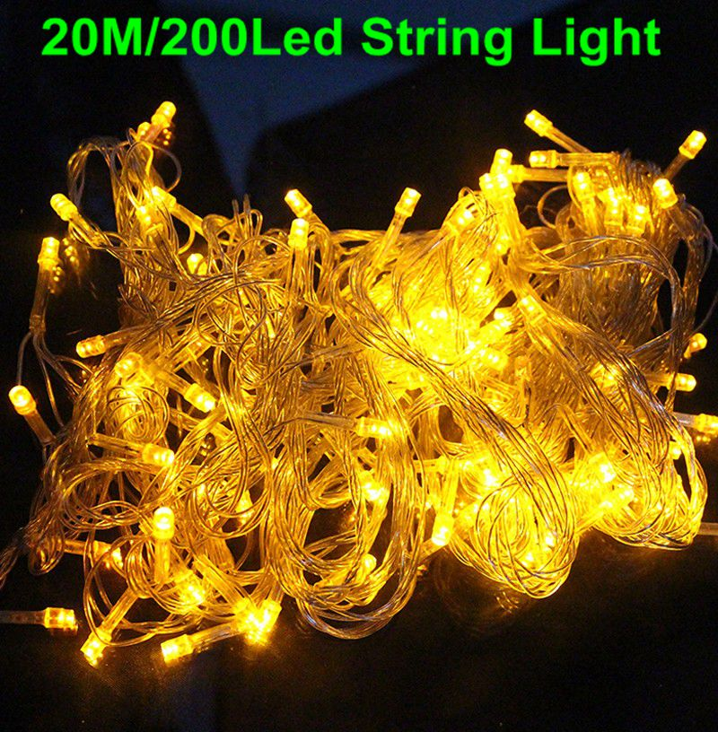 20m 200 led string christmas lights outdoor waterproof fairy party lights warm white red blue purple pink rgb in led string from lights lighting on