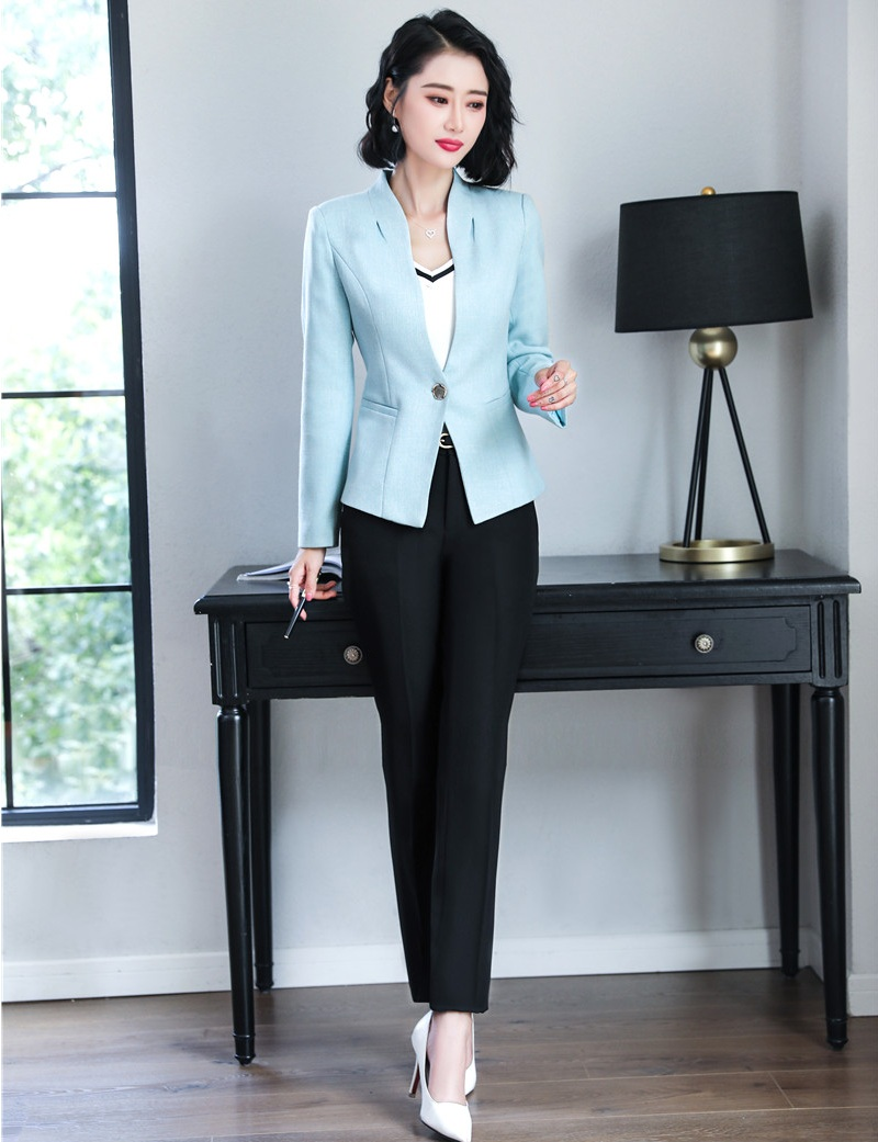New 2019 Ladies Pant Suits For Women Business Suits Formal Office Suits Work Sky Blue Blazer And Jacket Sets Ol Styles