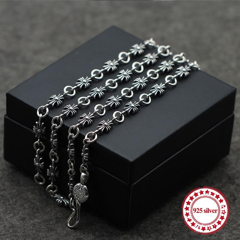 S925 collier en argent sterling perle chandail chaîne simple croix personnalité classique long paragraphe dominateur couple envoyer un cadeau