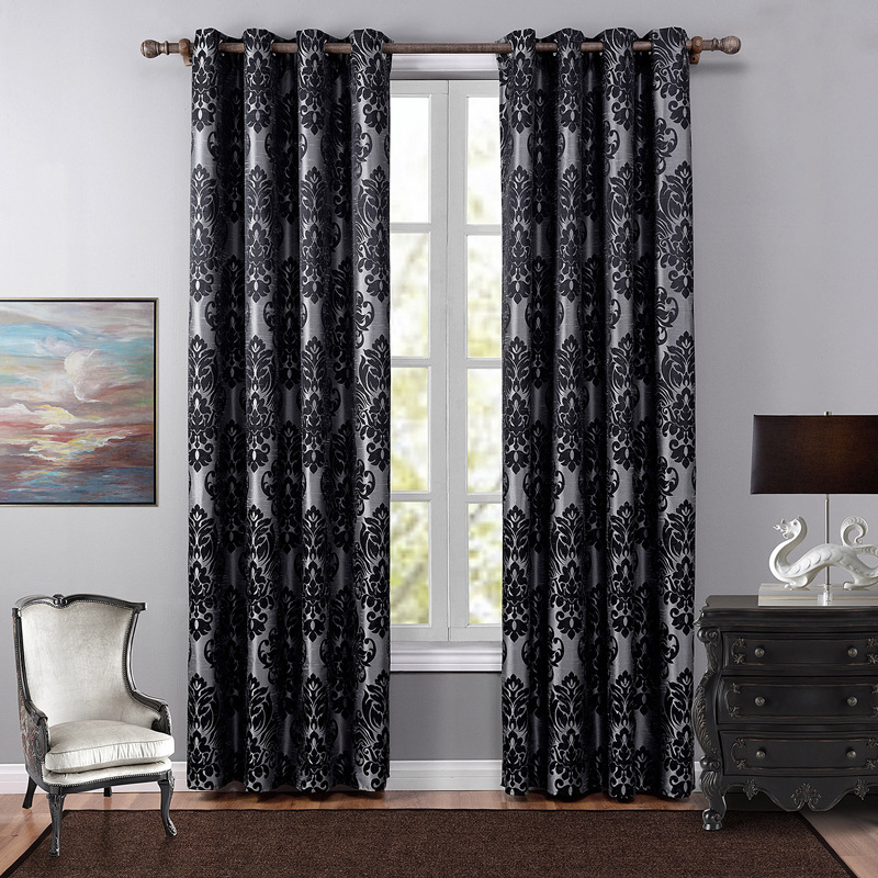 SunnyRain 1-Piece Black Jacquard Luxury Curtain For Living Room Blackout Curtain For Bedroom Drapes Punching Cortinas