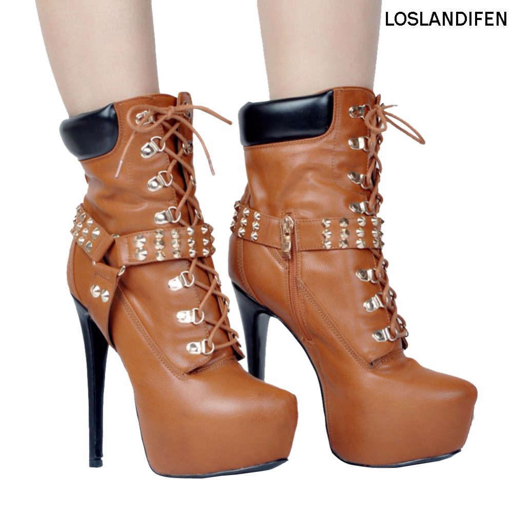 Womens Fashion Handmade High Platform Shoes Spikes Deco High Heel Ankle Boots Party Prom Winter Booty XD121 cellular line funloveiph51 page 3