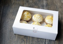 Pure white 6  muffin cupcake box