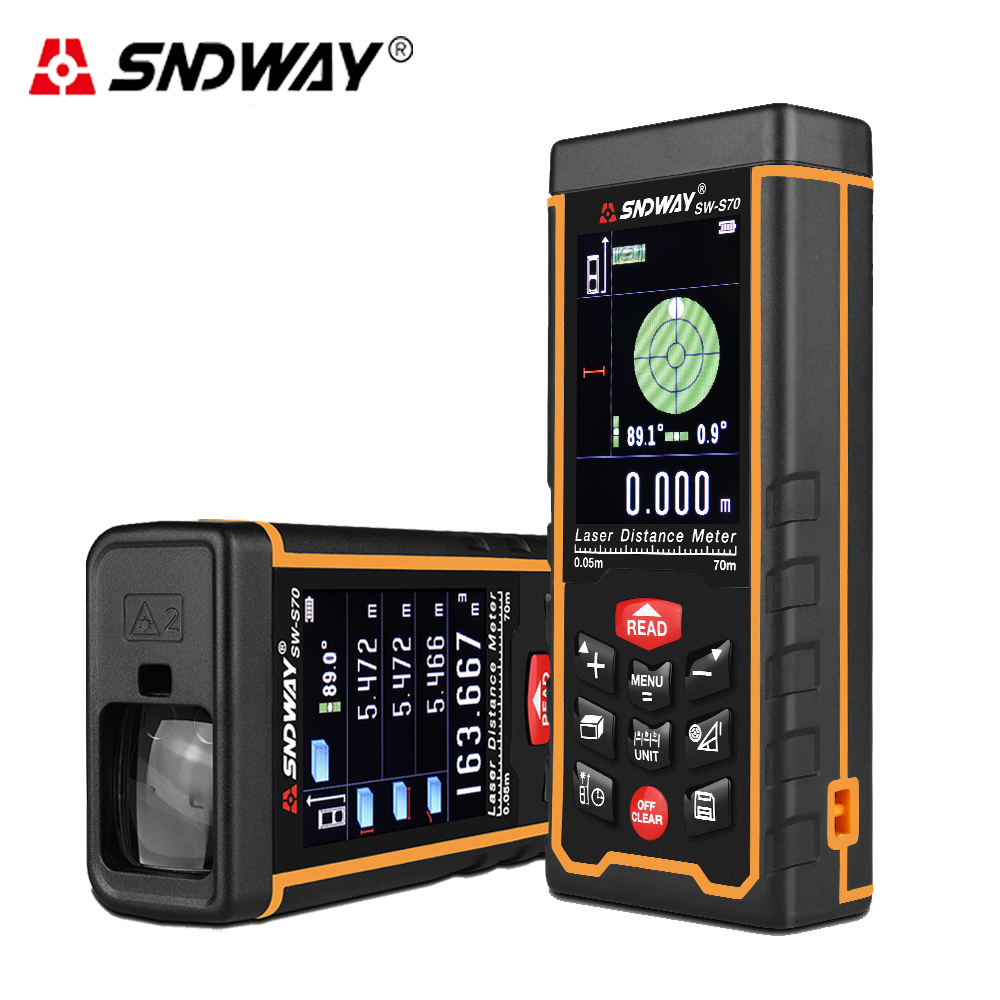 SNDWAY laser distance meter 70m Laser rangefinder Color display trena laser tape range finder Measuring Meter ruler test tool цена