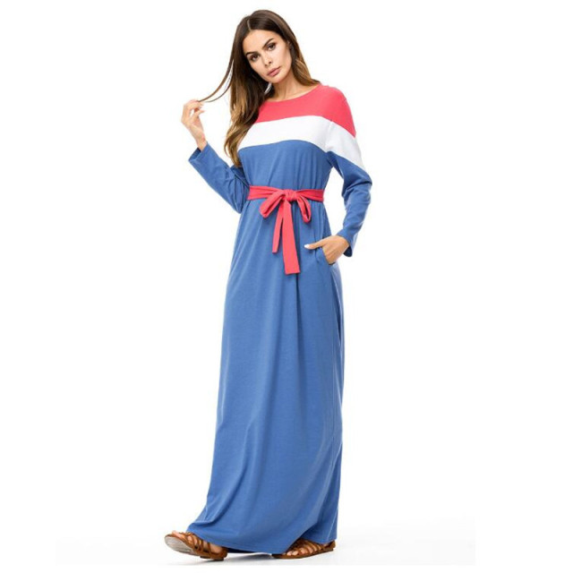 WIPU Fashion Contrast color Block Maxi Long Dress Fall plus size ...