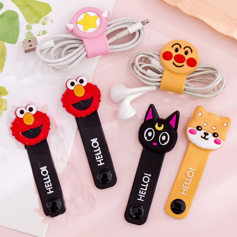 1 Pcs Cute Anpanman Sesame Street Dog Cat Rabbit Silicone Cable Winder Protector Earphone Wire Cord Organizer Stationery Holders