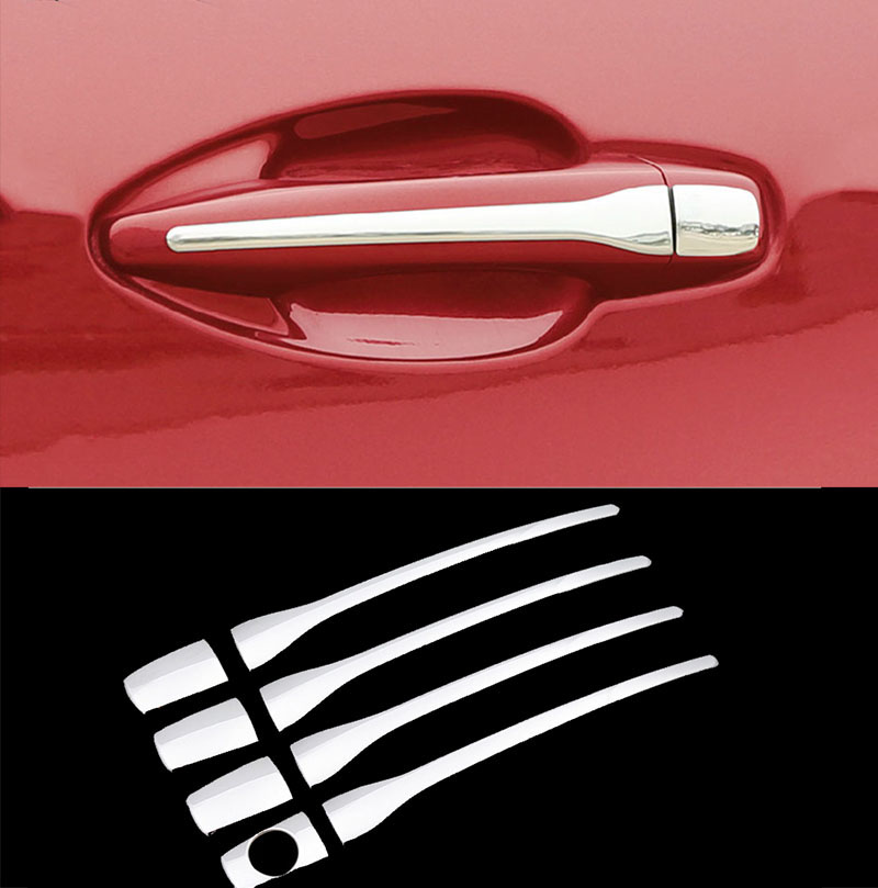 FIT FOR PEUGEOT 2008 3008 207 308 407 CITROEN C4 C6 CHROME DOOR HANDLE COVER TRIM MOLDING STAINLESS CAP BEZEL OVERLAY PROTECTOR