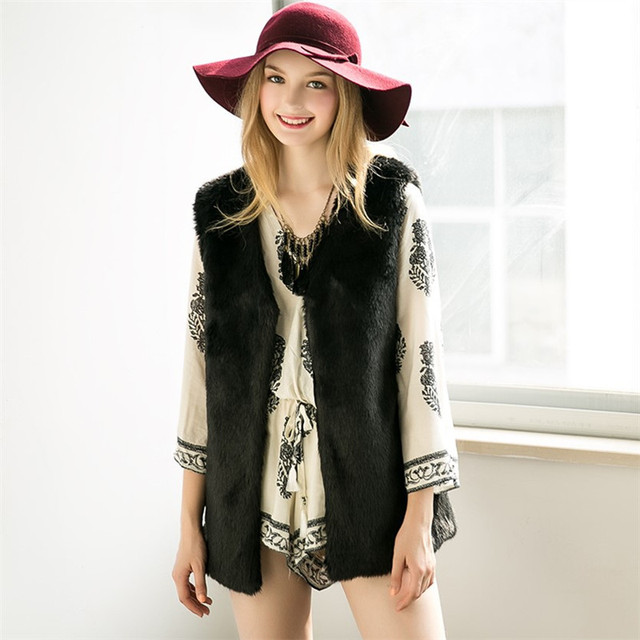 738fef1c40b Women Brown Plus Size Faux Fur Vest Slim Long Faux fur Coat Women XXL Gilet  Fourrure Rabbit Fur Femme Vest Long Coat A1027