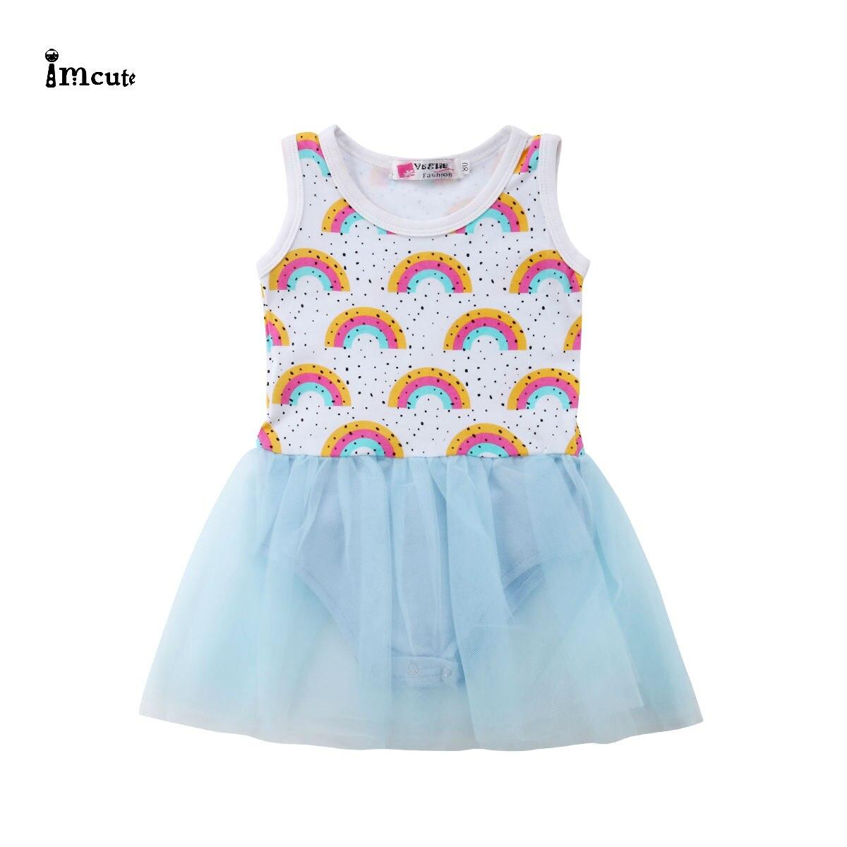 US Toddler Kids Baby Girl Lace Rainbow Party Pageant Tutu Dress Chiffon Sundress
