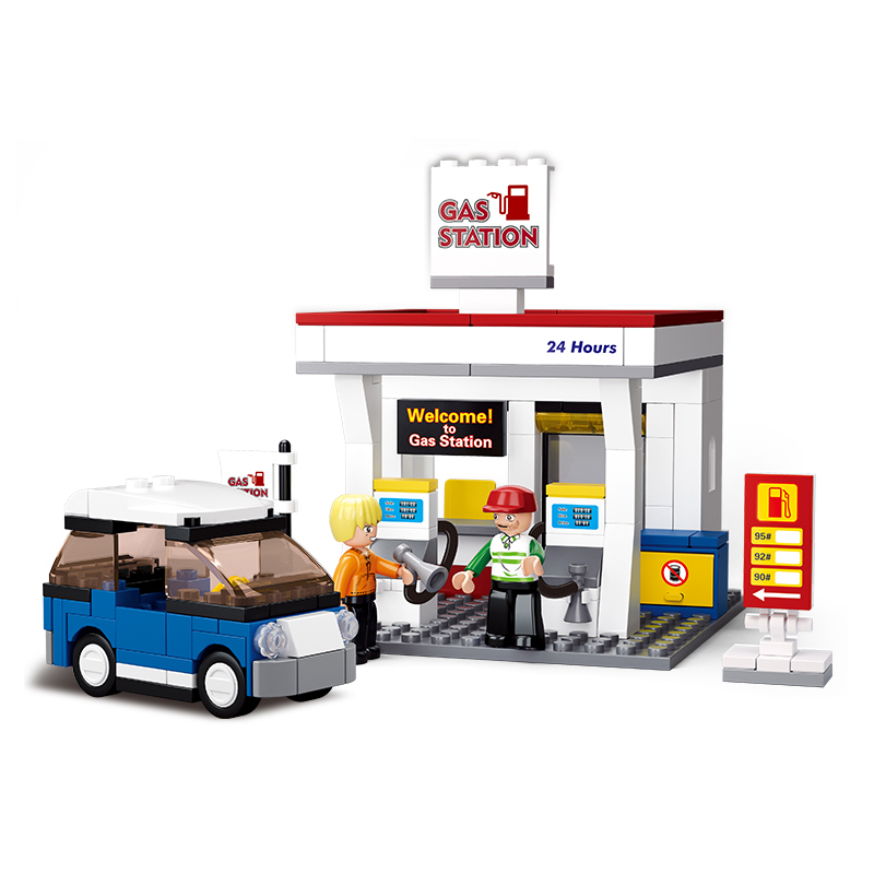 Sluban 167Pcs Gas Station SimCity Bricks Model Building Blocks ings City Friends Building Toys for Children Christmas Gift image